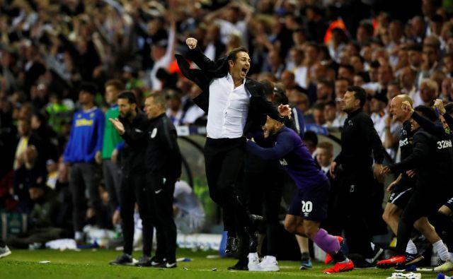 Frank Lampard je nekoč blestel v majici Chelseaja, zdaj na klopi Derbyja. Ukanil je tudi Marcela Bielso (Leeds). FOTO: Reuters