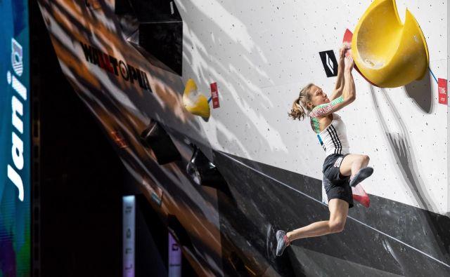 Janja Garnbret je razred zase, nobena tekmica ji ne pride blizu. V Münchnu je zmagala tretje leto zapored. FOTO: Luka Fonda/PZS