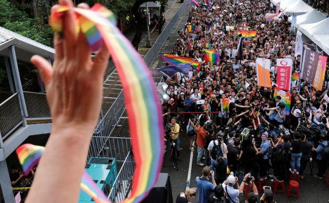 Tajvan je v petek postal prva – in za zdaj edina – azijska država, v kateri so legalizirali istospolne poroke. FOTO: Tyrone Siu/Reuters