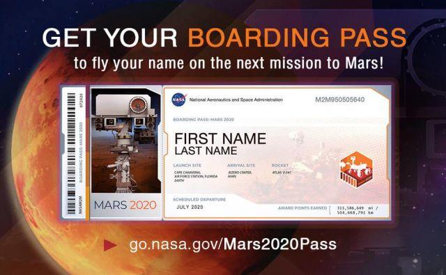 V spomin dobite takšno vozovnico za na Mars. FOTO: Nasa