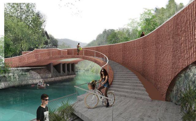 Potrjena idejna rešitev predvideva betonski most v opečnati barvi z ločenimi pasovi za vozila, kolesarje in pešce ter s povezovalnim lokom na pešpot ob jezeru. Foto Biro Triiije