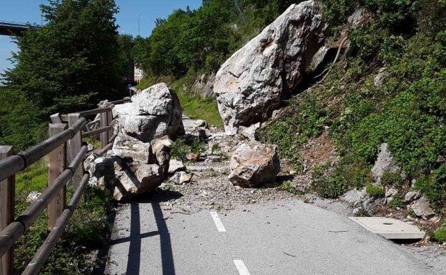 Kolesarji naj upoštevajo zaporo kolesarske steze, saj mora žarišče podora pregledati geologinja. FOTO: Direkcija za infrastrukturo