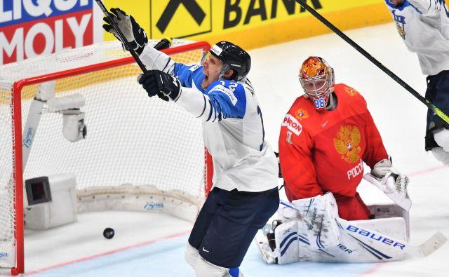Marko Anttila je edini premagal ruskega vratarja Andreja Vasilevskija, a je bilo 1:0 dovolj za uvrstitev Finske v veliki finale SP skupine A. FOTO: AFP