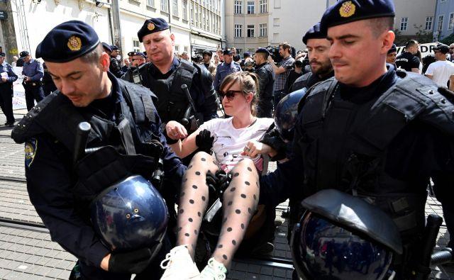 Hrvaška policija je med pohodom zajela 13 njegovih nasprotnikov. FOTO: AFP