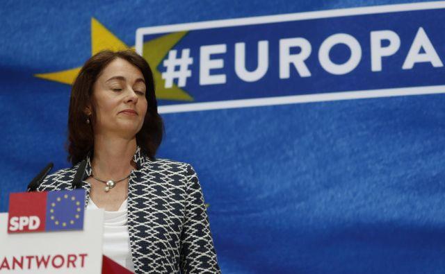 Socialni demokrati (SPD) so na evropskih volitvah z vodilno kandidatko Katarino Barley doživeli pravi polom. V stranki gre za vprašanje preživetja. FOTO: Reuters