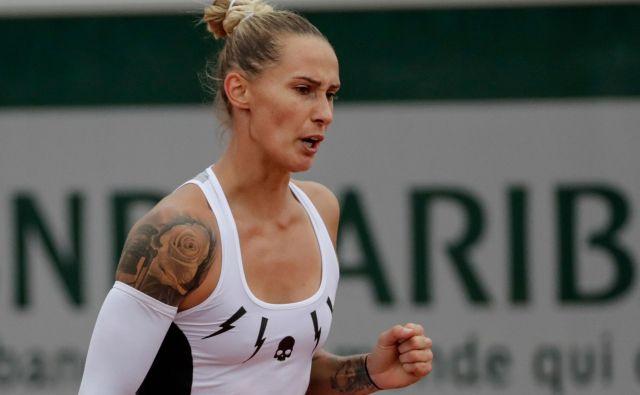 Polona Hercog je dosegla prvo zmago na turnirjih za veliki slam po Wimbledonu 2017, na Roland-Garrosu pa prvič po letu 2016. FOTO: AFP