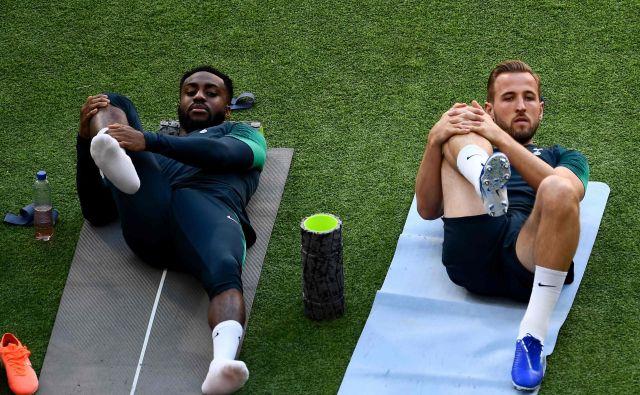 Dva meseca poškodovani Harry Kane (desno, levo Danny Rose) je pripravljen za nastop v finalu lige prvakov. FOTO: AFP