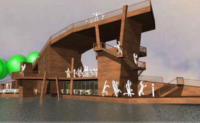 Načrtovani prireditveni oder arhitekta Roka Polesa na obali Velenjskega jezera. SLIKA: MOV/Rok Poles