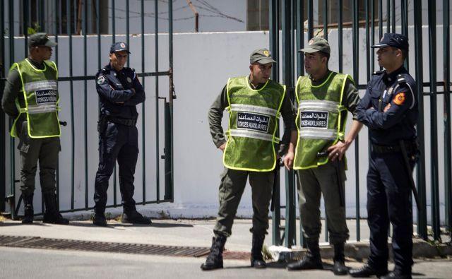 Sojenje trojici za umor Skandinavk poteka na zastraženem sodišču v mestu Sale v bližini prestolnice Rabat. FOTO: Fadel Senna/AFP