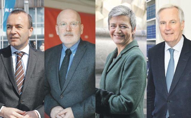 Kandidati za predsednika evropske komisije: Manfred Weber, Frans Timmermans, Margrethe Vestager in Michel Barnier FOTO: Uroš Hočevar, Mavric Pivk, Jože Suhadolnik, Reuters