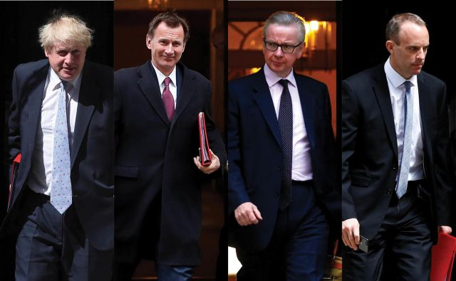 Kandidati za Downing Street 10: poleg Johnsona, Hunta, Gova in Raaba je v igri še vsaj devet imen. FOTO:Reuters