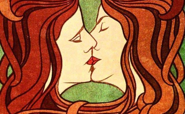 Romantično prijateljstvo med ženskami je na prelomu iz 19. v 20. stoletje doživelo zenit. Na fotografiji slika Petra Behrensa Poljub, 1898.