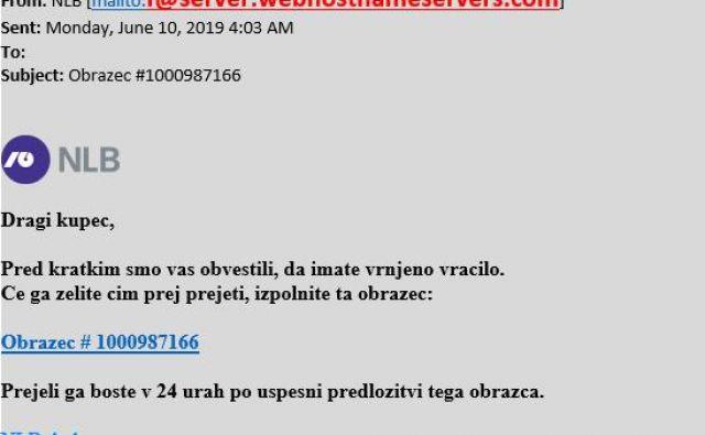 Primer lažnega elektronskega sporočila. FOTO: NLB