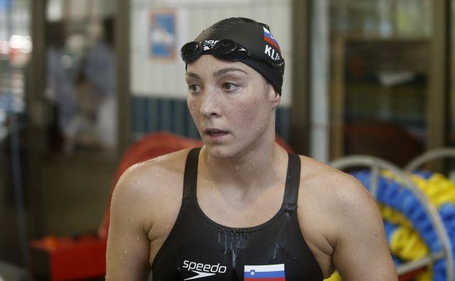 Anja Klinar ni skrivala razočaranja, potem ko si v soboto ni priplavala norme za SP. FOTO Blaž Samec/Delo