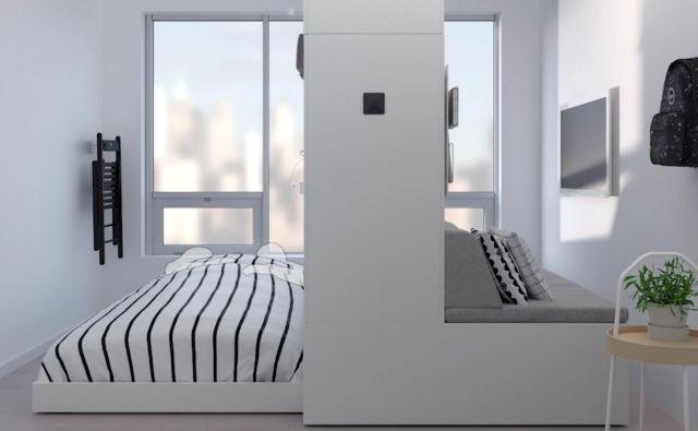 <em>Startup </em>Ori je specializiran za proizvodnjo robotskega pohištva. Spalnica se spremeni v delovno sobo, dnevna soba se skrči, zvečer se delovna soba ponovno spremeni v spalnico. FOTO: Ikea