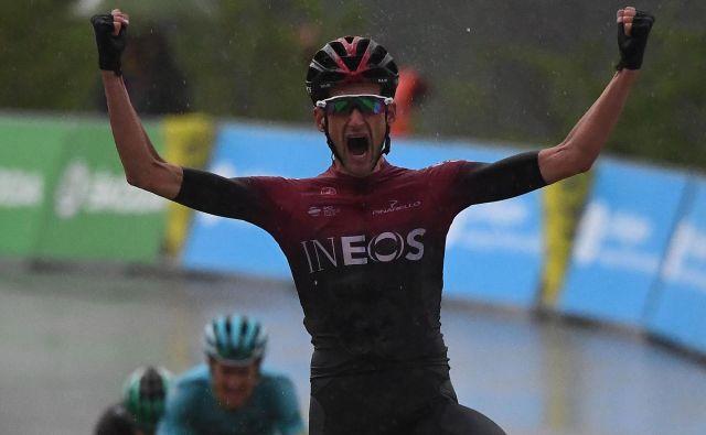 Wout Poels je slavil zmago v 7. etapi kriterija Dauphine. FOTO: Anne-Christine Poujoulat/AFP