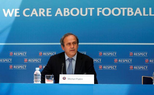 Nekdanji zvezdnik francoske reprezentance je vodil Uefo med letoma 2007 in 2015, leto dni zatem ga je nasledil Aleksander Čeferin. FOTO: Reuters