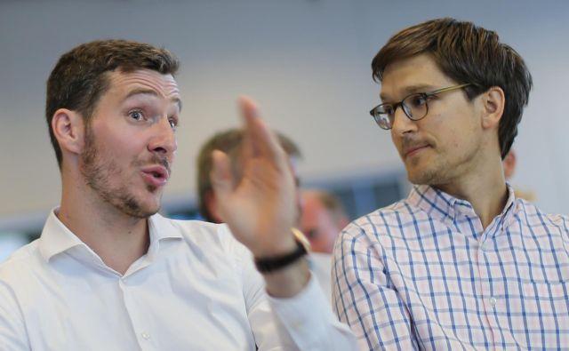 Goran Dragić in Jure Leskovec sta vsak iz svojega zornega kota govorila o koristih sodobne tehnologije v športu. FOTO: Tomi Lombar