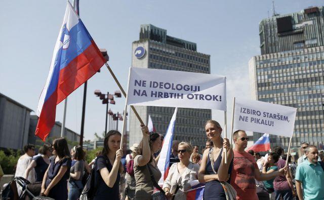 Na shodu v podporo zasebnemu šolstvu so ministru Jerneju Pikalu očitali pomanjakanje argumentov. FOTO: Blaž Samec/Delo