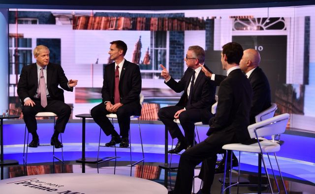 V tekmi za naslednjega voditelja konservativcev so po treh krogih ostali štirje kandidati: Boris Johnson, Jeremy Hunt, Michael Gove in Sajid Javid. FOTO: Afp