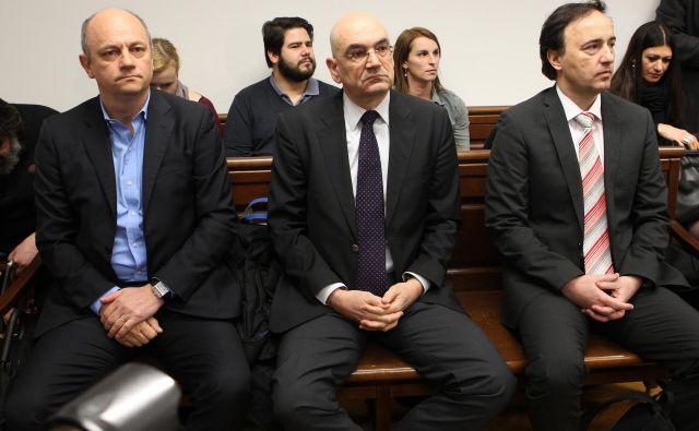Mirana Vičiča, Draška Veselinoviča (razglasitve sodbe se ni se udeležil) in Mateja Narata je ljubljansko okrožno sodišče v ponovljenem sojnenju spoznalo za krive. Foto: Tomi Lombar