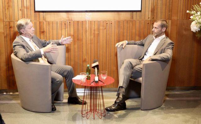 Aleksander Čeferin je na Škrabčevi domačiji, med drugim, spregovoril tudi o vodenju Uefe. FOTO: Voranc Vogel