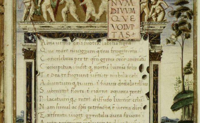 Prepis Lukrecijevega rokopisa De rerum natura FOTO: Wikimedia
