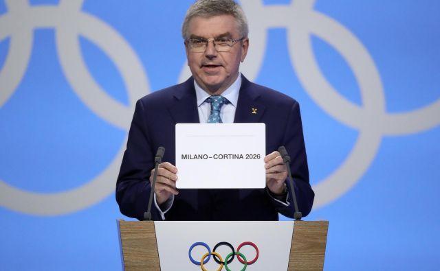 Predsednik medanrodnega olimpijskega komiteja Thomas Bach je v Lozani osrečil italijansko delegacijo. FOTO: Reuters