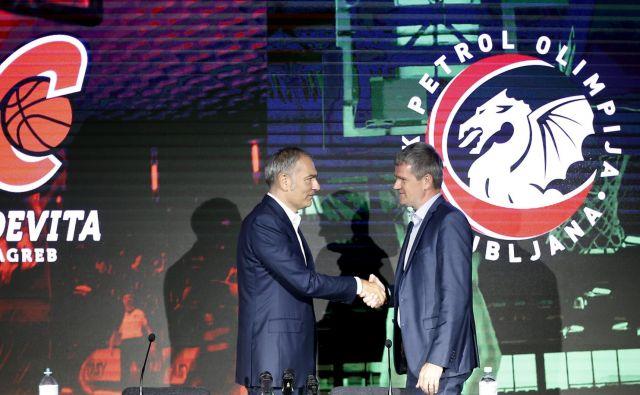 Tomaž Berločnik (desno) in Emil Tedeschi sta se z vso vnemo lotila združitve Petrola Olimpije in Cedevite. FOTO: Bla�ž Samec
