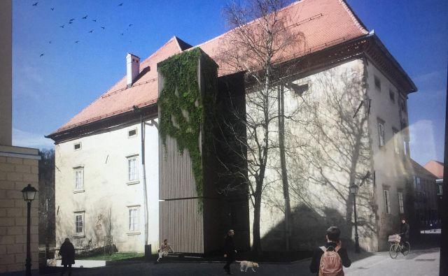Projekcija dvigala, kakršno naj bi bilo na vzhodni fasadi Stare grofije. FOTO: arhiv arhitekt Nande Korpnik