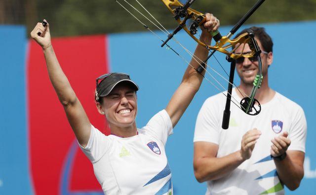 Toja Ellison se je takole veselila zlata na evropskih igrah. FOTO: Reuters