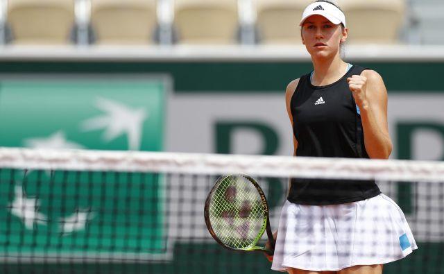 Kaja Juvan si je nastop na glavnem turnirju Wibledona priigrala s prepričljivo zmago v kvalifikacijah. FOTO: Reuters