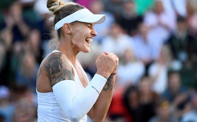 Polona Hercog se je četrtič v karieri prebila v 3. kolu turnirja za veliki slam, a tako velike zmage kot sinoči za preboj med 32 še ni dosegla. FOTO: Reuters
