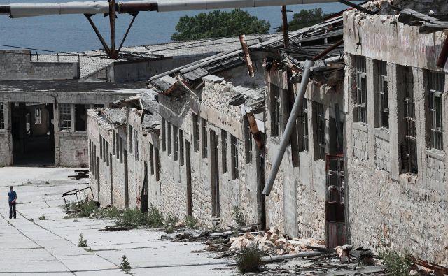Jugoslovansko taborišče, ki je razdrobljeno po pustem otoku sredi Jadrana, še vedno buri domišljijo. FOTO: Jože Suhadolnik/Delo