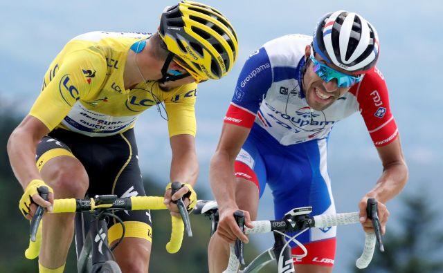 Francoski navijači lahko zelo optimistično pričakujejo nadaljevanje Toura po odličnih predstavah Alaphilippa (levo) in Pinota. Foto Reuters
