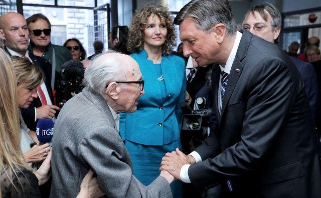 Pisatelj Boris Pahor in predsednik Borut Pahor. FOTO: Daniel Novaković/STA
