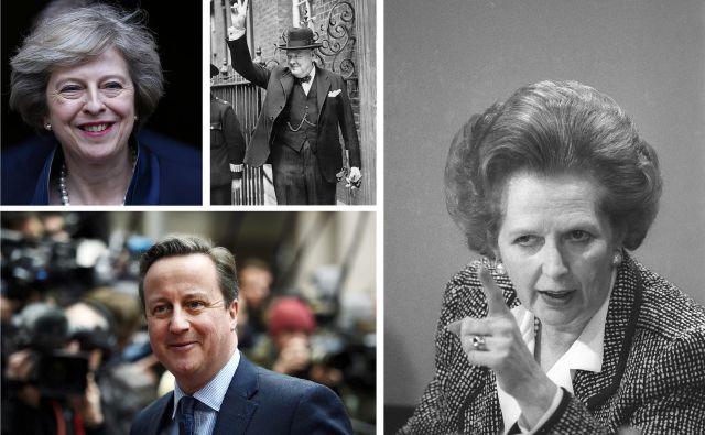 Zgodovinarji Winstona Churchilla in Margaret Thatcher uvrščajo med najuspešnejše konservativne ministrske predsednike. Kako bodo gledali na Davida Camerona in Thereso May? FOTO: Reuters, Wikipedia