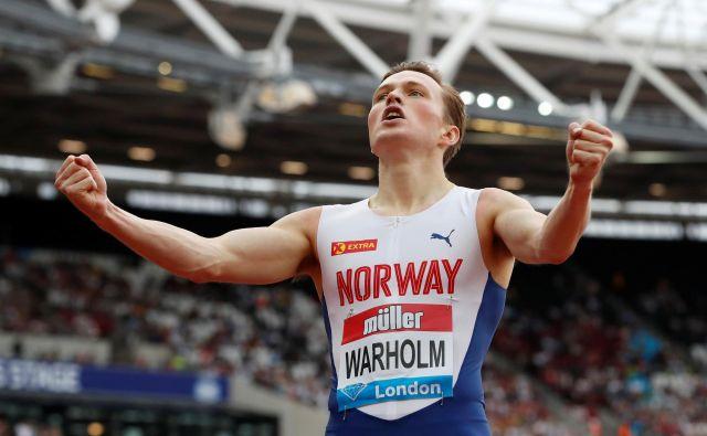 Warholm proslavlja evropski rekord. FOTO: Matthew Childs/Reuters