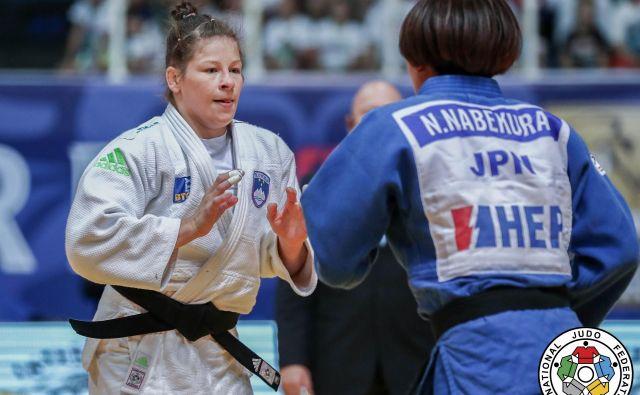 Tina Trstenjak je v velikem finalu strla odpor Japonke Nami Nabekura. FOTO: Marina Mayorova/IJF