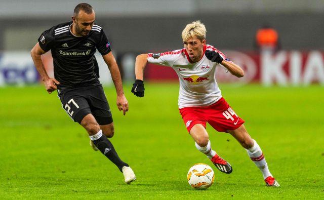 Rosenborg je v minuli sezoni igral v eni od skupin evropske lige in se srečal tudi z Leipzigom, za katerega igra Kevin Kampl (desno). V konkurenci Salzburga, Leipziga in Celtica so Norvežani zasedli zadnje mesto z eno osvojeno točko.FOTO: AFP