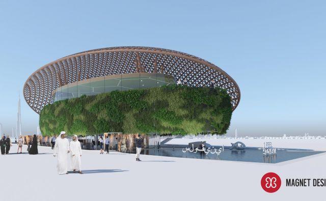 Slovenija se bo predstavila kot lebdeča oaza na vodni blazini. Računalniški prikaz Arhiv Magnet Design