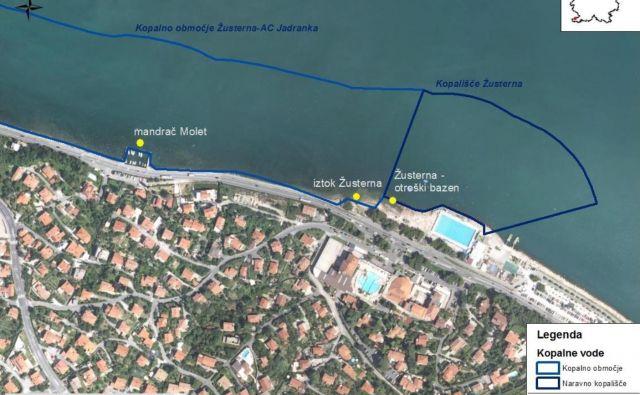 Z rumeno piko so označena mesta, kjer so vzeli vzorce vode. FOTO: Arso