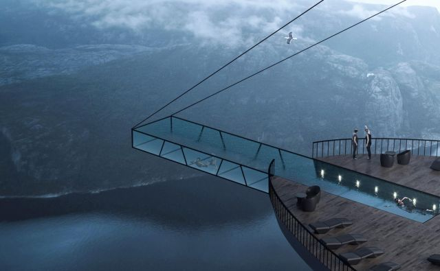 Največ pozornosti vzbuja bazen s steklenim dnom, ki visi nad fjordom. FOTO: arhiv Hayri Atak Architectural Design Studio