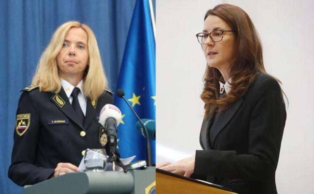 Generalna direktorica policije Tatjana Bobnar in ministrica za pravosodje Andreja Katič. FOTO: Delo