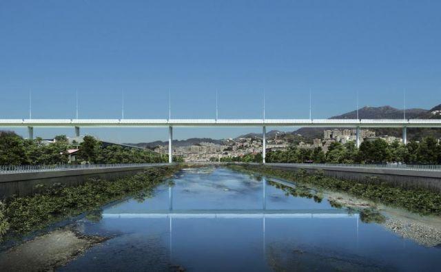 Most čez reko Polcevera arhitekta Renza Piana naj bi odprli aprila prihodnje leto. Podnevi bo zrcalil in absorbiral sončno svetlobo, ponoči jo bo vračal okolici. FOTO: Per Genova
