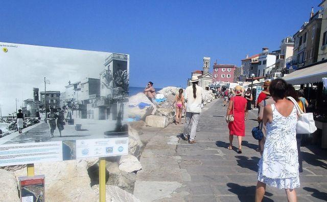 Pirančani se spominjajo starih uličnih svetilk, kamnitih klopic in palm v koritih, ki so krasile promenado še do konca 60-tih let. Foto Janez Mužič