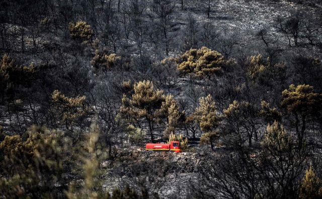 Požar je izbruhnil ob 3. uri po lokalnem času ob cesti. FOTO: Angelos Tzortzinis/AFP