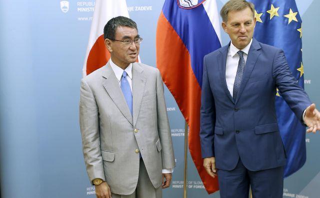 Taro Kono je prvi japonski zunanji minister na uradnem obisku v Sloveniji. Foto: Blaž Samec