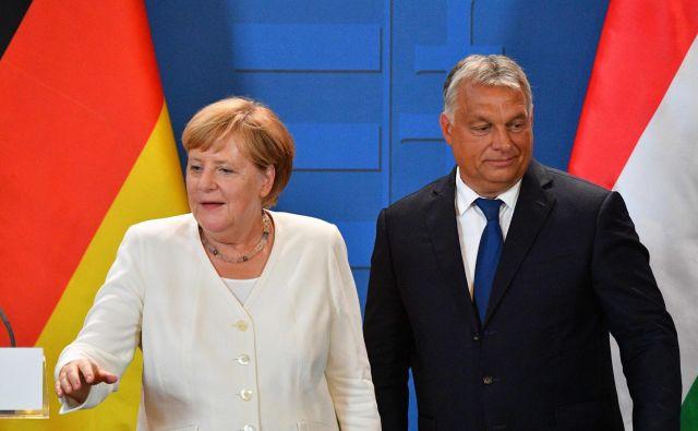 Kanclerka Angela Merkel in madžarski predsednik Viktor Orbán v Šopronu nista mogla skriti razlik. Foto: AFP