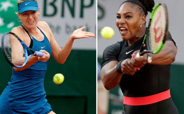 Marija Šarapova in Serena Williams sta edini aktivni igralki, ki se lahko pohvalita z zmagami na vseh štirih turnirjih za veliki slam, na OP ZDA pa se bosta pomerili že v uvodnem kolu. Američanka v medsedbojnih dvobojih vodi z 19:2. FOTO: AFP